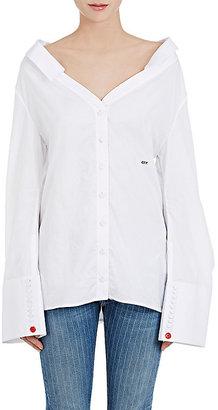 Off-White c/o Virgil Abloh Women's Cotton Poplin Off-The-Shoulder Shirt $665 thestylecure.com