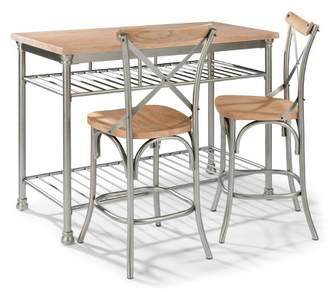 Home Styles French Quarter Butcher Block Top Kitchen Island & Two Stools Aged White Washed