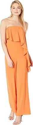 Halston Women's Strapless Wide Leg Jumpsuit with Flounce Overlay