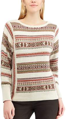 Chaps Women's Striped Linen-Blend Crewneck Sweater