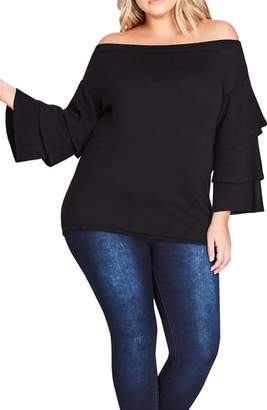 City Chic Sweet Heart Off the Shoulder Sweater