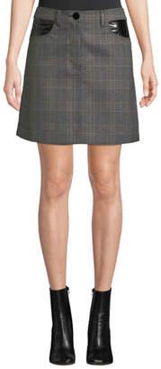 Derek Lam 10 Crosby Plaid Jean Mini Skirt with Faux-Leather Trim