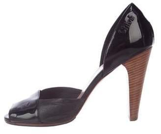Chloé Patent Leather Peep-Toe Pumps