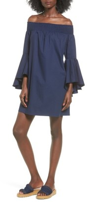 Women's Soprano Bell Sleeve Off The Shoulder Shift Dress $49 thestylecure.com