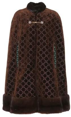 Gucci Mink-trimmed velvet cape