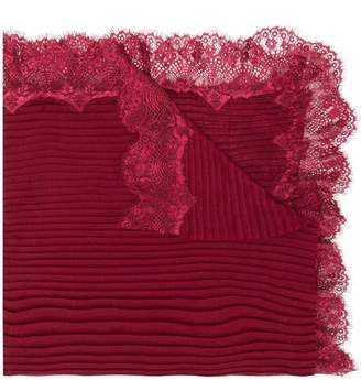 Twin-Set lace trim ribbed scarf