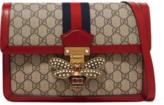 38b4402c2b8 Gucci Queen Margaret Embellished Textured Leather-trimmed Printed  Coated-canvas Shoulder Bag
