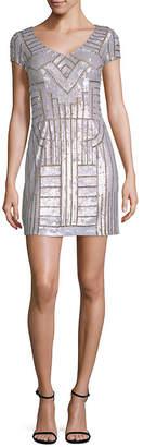 Adrianna Papell Beaded V-Neck Mini Dress