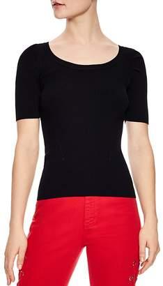 Sandro Selby Ribbed Short-Sleeve Sweater
