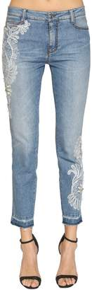 Ermanno Scervino Skinny Stretch Denim Jeans W/ Lace