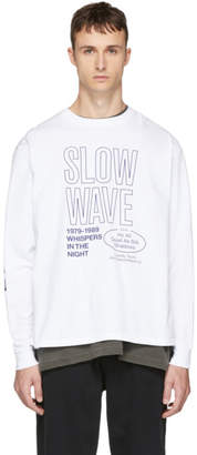 Second/Layer White Long Sleeve Slow Wave Spiral T-Shirt