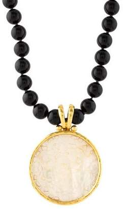 Elizabeth Locke 19K Carved Mother of Pearl & Onyx Beaded Necklace