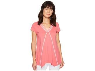 Mod-o-doc Slub Jersey Embroidered Short Sleeve T-Shirt w/ Pointed Hem