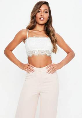 3a907ae37629f0 Missguided White Eyelash Lace Cami Bralette