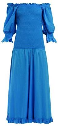 Rhode Resort Eva Smocked Off The Shoulder Cotton Dress - Womens - Blue