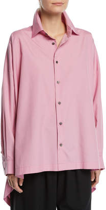 eskandar Oversized High-Low Button-Front Shirt