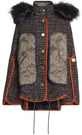 Shearling-Trimmed Shell-Paneled Tweed Hooded Jacket