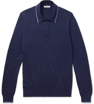 Boglioli Contrast-Tipped Knitted Cotton Polo Shirt