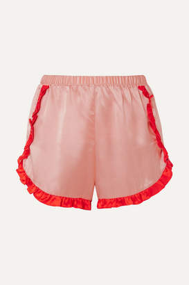 Morgan Lane - Esti Two-tone Silk-charmeuse Pajama Shorts - Blush