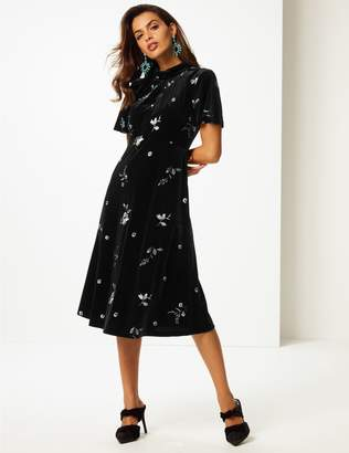 Marks and Spencer Embroidered Short Sleeve Tea Midi Dress