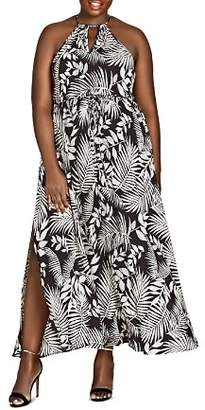 City Chic Plus Sleeveless Palm-Print Maxi Skirt