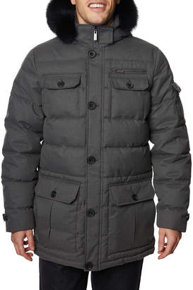 Tahari Mens Men's Quilted Button-Down Hooded Parka w/ Fox Fur Trim