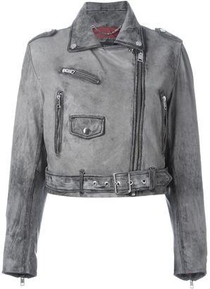 Diesel dyed effect biker jacket $932.44 thestylecure.com
