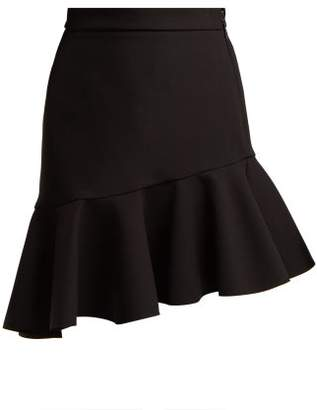 MSGM Asymmetric Frill Hem Crepe Mini Skirt - Womens - Black