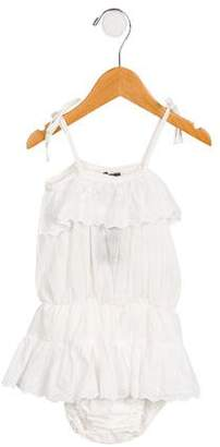 Tocoto Vintage Girls' Lace-Trimmed Sleeveless Romper w/ Tags