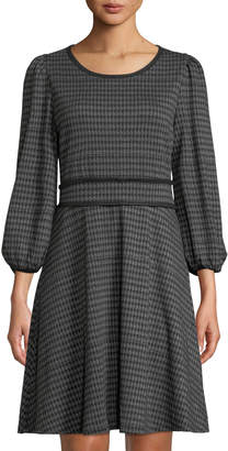 Max Studio 3/4-Sleeve Houndstooth Double-Knit Skater Dress