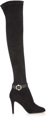 Jimmy Choo TONI Black Stretch Suede Over-the-Knee Boots with Pearl Buckle Strap