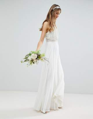 Asos Edition EDITION Maxi Wedding Dress with Pearl Crop Top