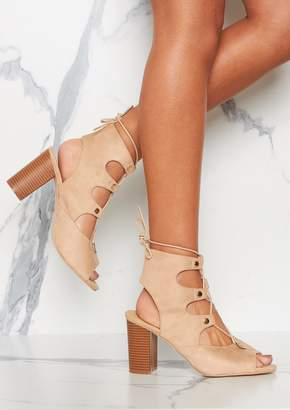 2bf180306674 Missy Empire Missyempire Faith Beige Suede Lace Up Heeled Boots