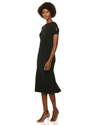 Calvin Klein Women's Short Midi Dress with Keyhole Knot Sleeve