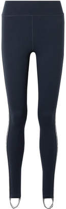 The Upside Striped Stretch Stirrup Leggings - Navy