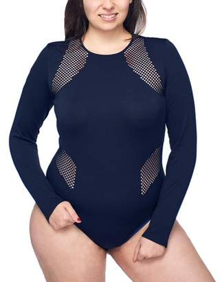 Under Control Women's Plus Active Seamless Scoop Neck Long Sleeve Bodysuit With Fish Net Detail