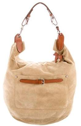 Ralph Lauren Leather-Trimmed Suede Hobo