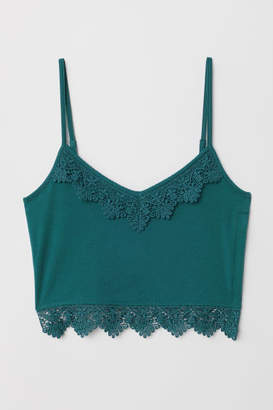 H&M Short Tank Top with Lace - Turquoise