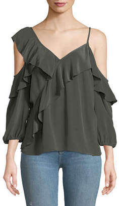 Bailey 44 Unforgettable V-Neck Cold-Shoulder Ruffle Silk Top