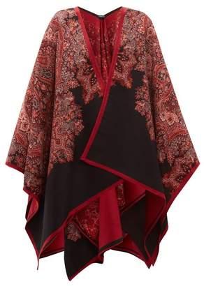 Etro Paisley Jacquard Wool Blend Cape - Womens - Black Pink