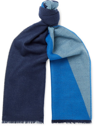 Johnstons of Elgin Fringed Colour-Block Cashmere Scarf