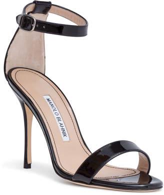 Manolo Blahnik Chaos 105 Black Patent Leather Sandals