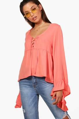 boohoo Erin Lace Up Ruffle Sleeve Blouse