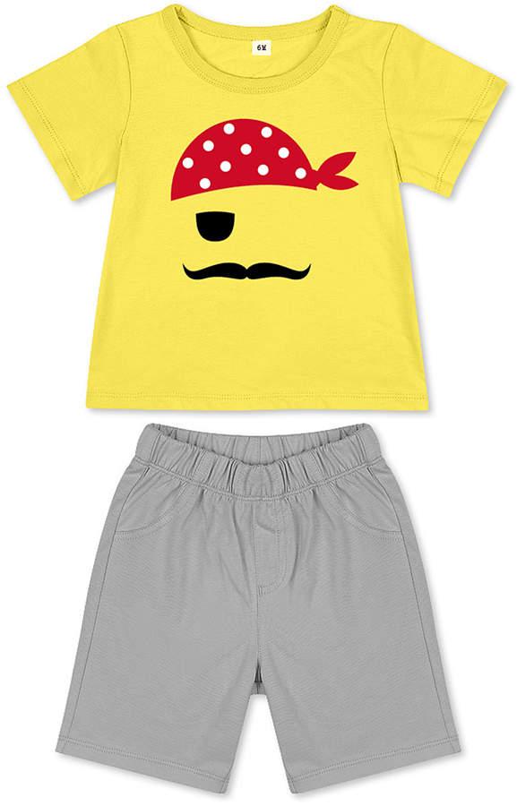 Yellow Pirate Tee & Gray Shorts - Newborn, Infant, Toddler & Boys