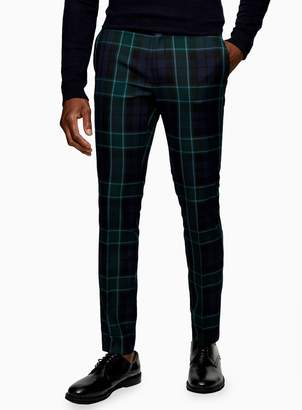 TopmanTopman Navy and Green Check Skinny Fit Suit Trousers