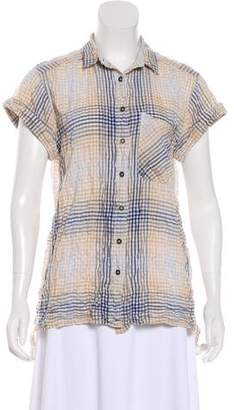 Rag & Bone Plaid Short Sleeve Top
