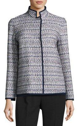 Lafayette 148 New York Branson Stand-Collar Tweed Jacket, Multi $648 thestylecure.com