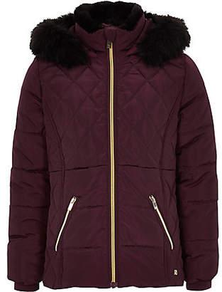 River Island Girls dark red faux fur trim padded coat