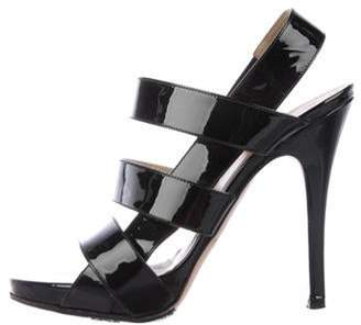 Valentino Patent Leather Strap Sandals Black Patent Leather Strap Sandals
