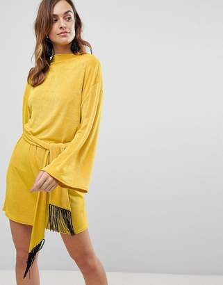 Asos Design Kimono Sleeve Mini Dress With Self Tie Fringe Belt